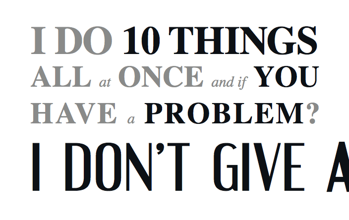 A textual graphic with quoted lyrics from a Madonna song, which read: 'I do 10 things all at once and if you have a problem? I don't give a.' The final letter 'a' is cut off, censoring the remaining word as it is in the song.